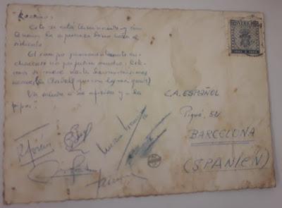 Reverso de la postal enviada desde Uppsala por el equipo español