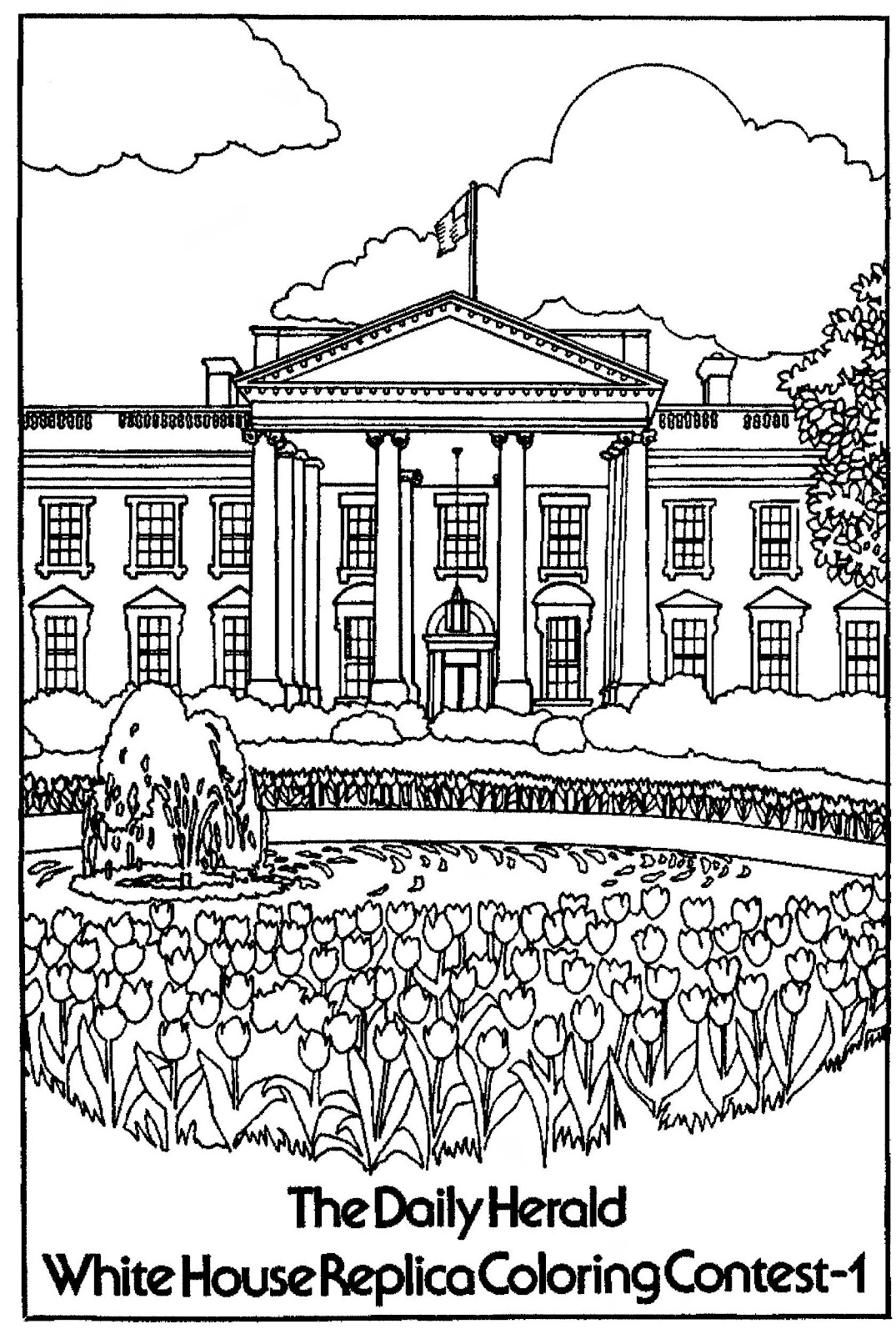 Mostly paper dolls white house replica coloring contest for The white house coloring page