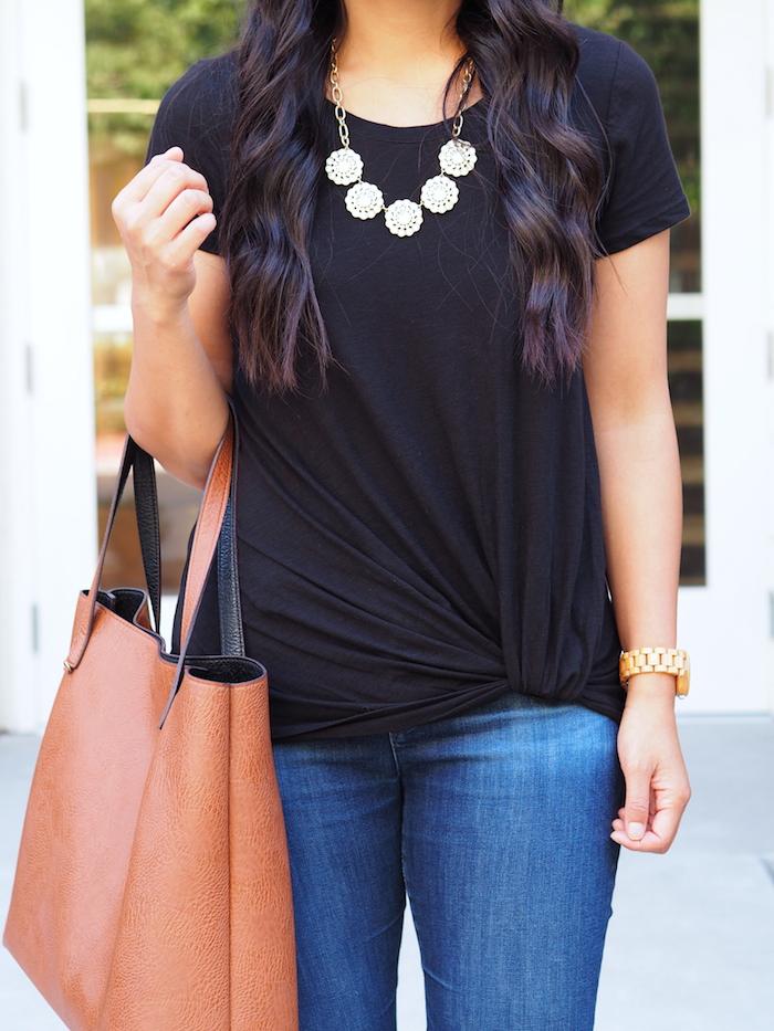black twist tee + jeans + statement necklace