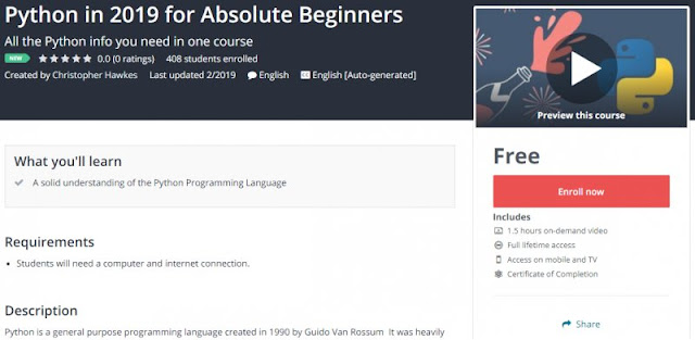 [100% Free] Python in 2019 for Absolute Beginners