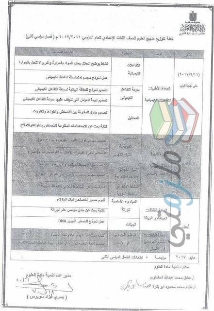 توزيع منهج العلوم للصف الثالث الاعدادي الترم الثاني 2017