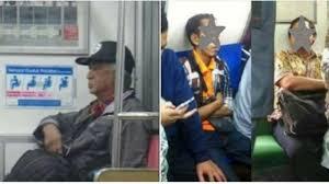 Heboh Foto Pak Harto Naik Kereta, Kini Muncul Jokowi KW Lagi Tidur dan Prabowo KW Duduk di KRL