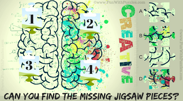 It is Jigsaw Picture Puzzle in which one has to map the four Missing Jigsaw Pieces in the Puzzle Image