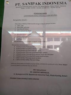 Lowongan Kerja PT. Sanipak Indonesia