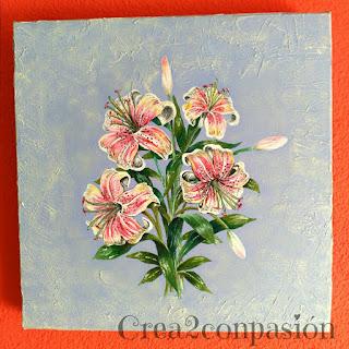 cuadro-pintados-a-mano-flores-lilium-Crea2conPasión