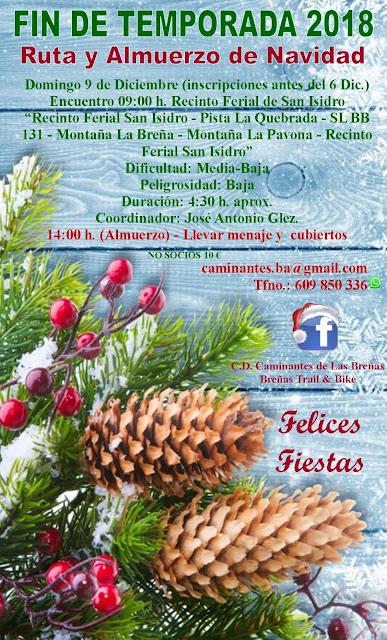 Caminantes de Las Breñas, Domingo 9 de Diciembre: Almuerzo de Navidad y cierre de temporada