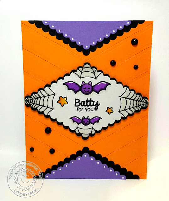 Sunny Studio Stamps: Halloween Cuties & Fishtail Banner II Batty For You card by Lindsey Sams.
