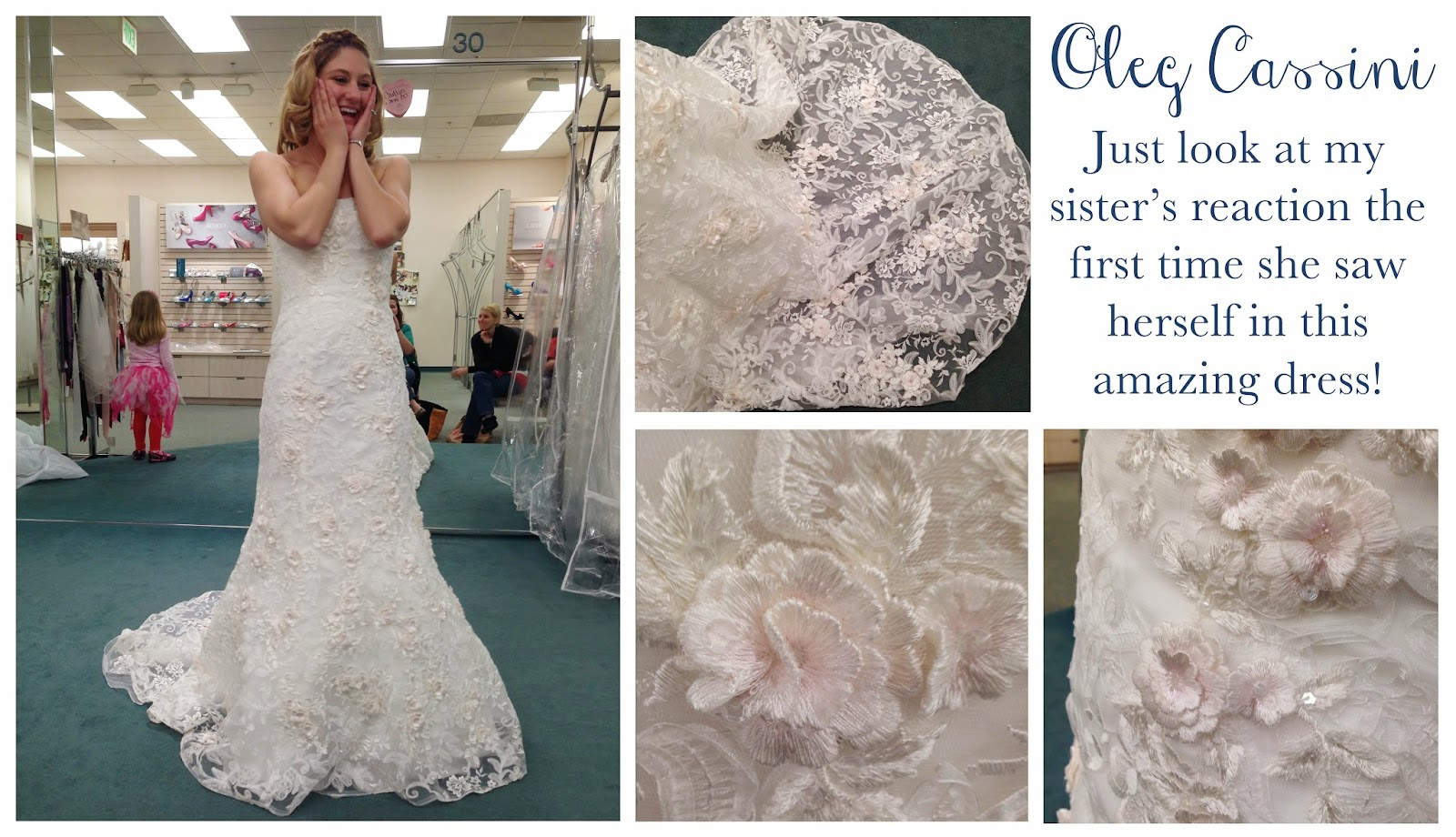 The perfect wedding dress:  An Oleg Cassini with embroidered flowers with soft pink centers.