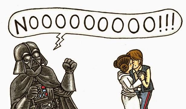 Han Solo y Leia besandose y Darth Vader gritando NOOOOO!!