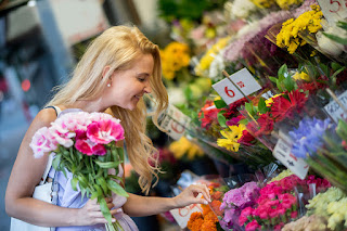 buying flowers at the florist shop