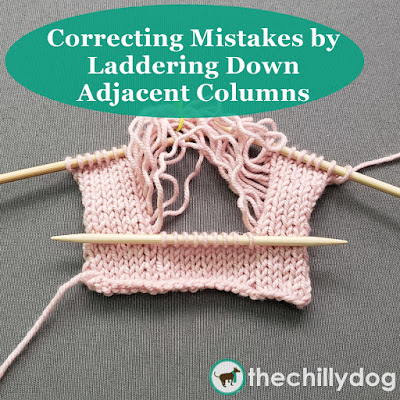 Correcting Knitting Mistakes: Learn how to fix errors in your knitting by laddering down multiple columns of stitches and re-knitting your unraveled work