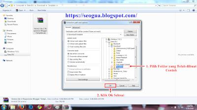 Cara mengekstrak file Template Blog Tahap 2
