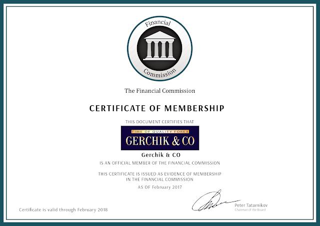 Сертификат FinaCom (Финансовой Комиссии)