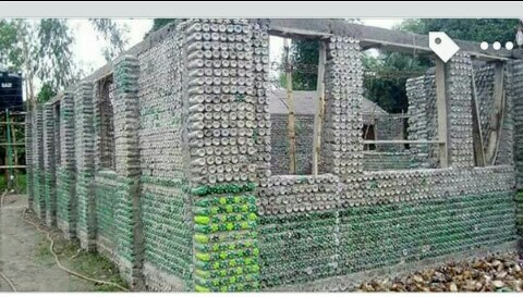 House Constructed With Plastic Bottles.