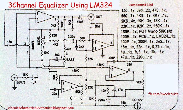 Rangkaian Equalizer menggunakan LA3600 dan LM324