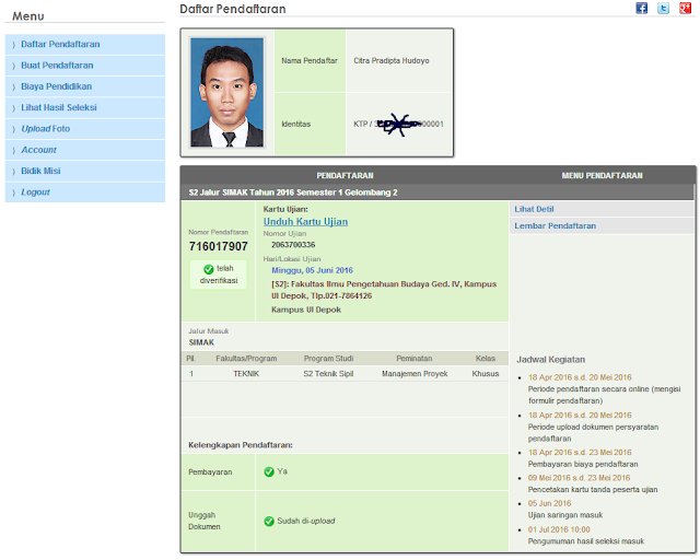Menu Pendaftaran S2 Magister UI