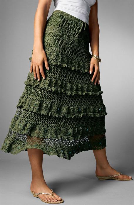 мир хобби длинная юбка цвета хаки вязание крючком