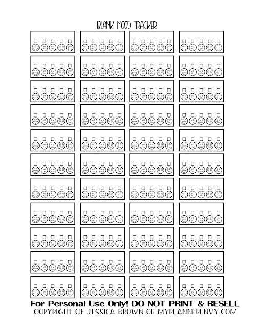 Free Printable Blank Mood Tracker Boxes from myplannerenvy.com
