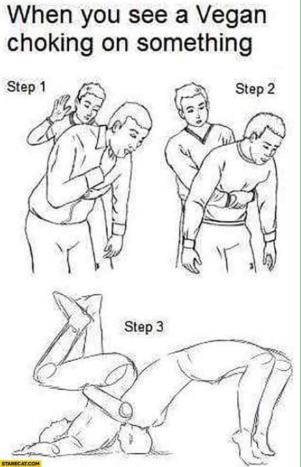 When you see a vegan choking on something