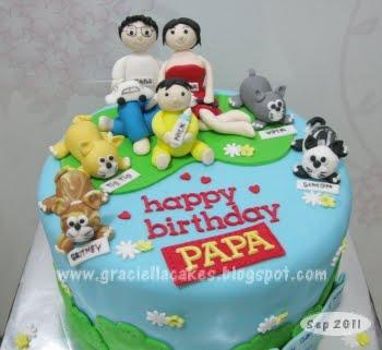 Family Theme Cat Cake For Papa Bday