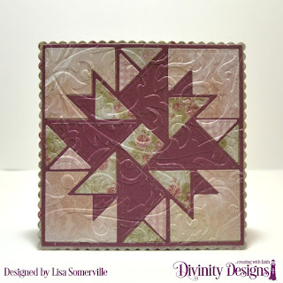 Divinity Designs Custom Dies: Quilted Triangles, Squares, Scalloped Squares, Embossing Folder: Flourishes, Paper Collection: Shabby Rose, Romantic Roses