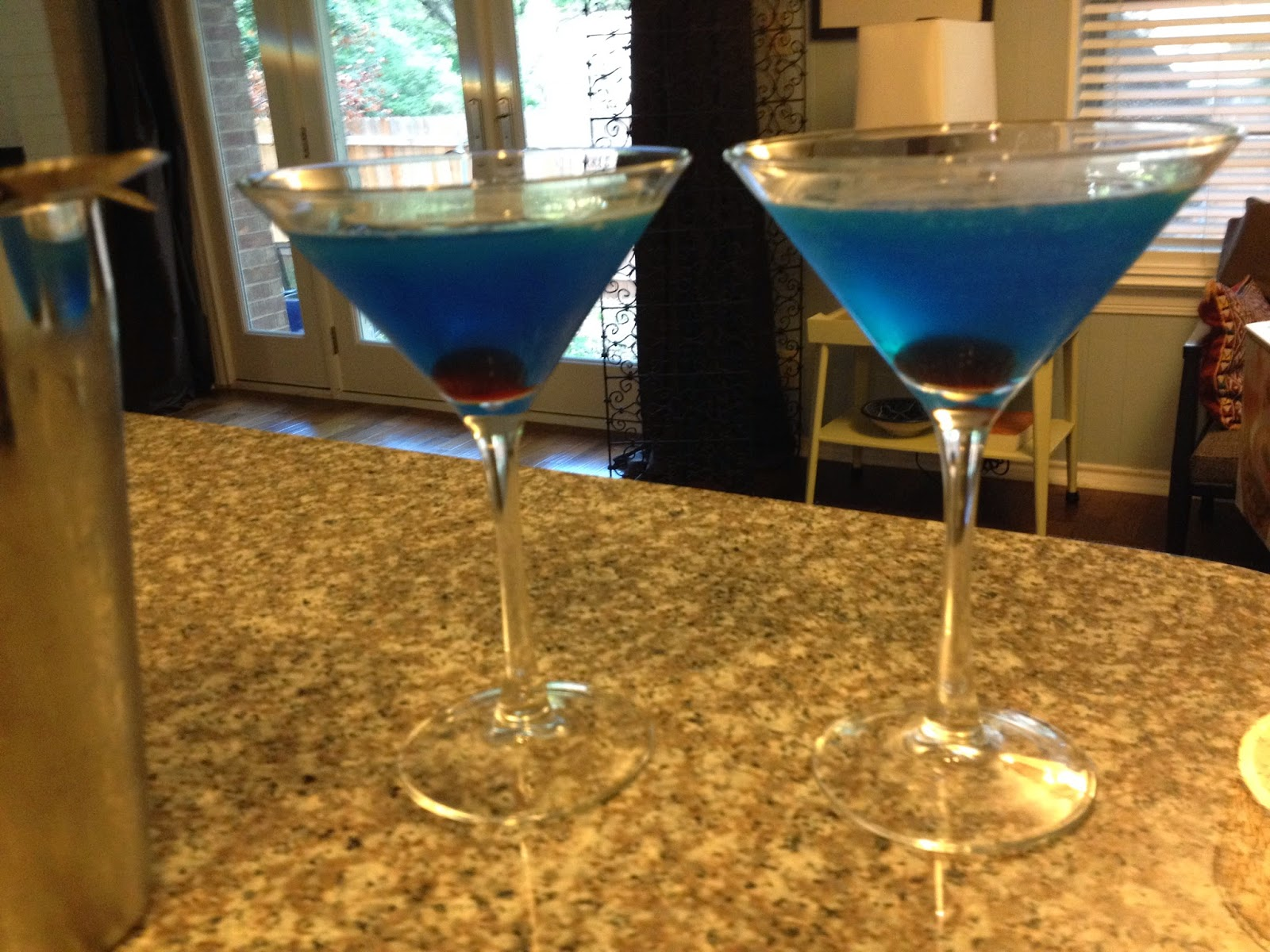 two martini glasses with Blue Riband cocktails