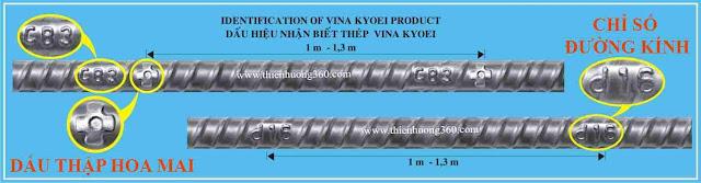 Thép Việt Nhật trên thân thép phải có Dấu thập nổi hình Hoa Mai