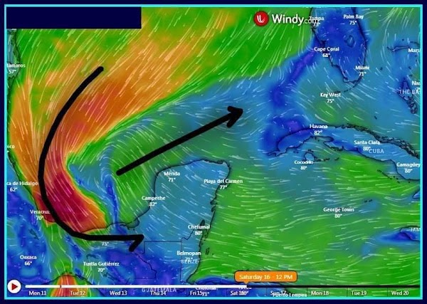 FOTOS: modelos predicen la formación de un huracán en el golfo de mexico , fuera de temporada.