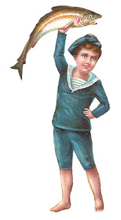 boy victorian sailor fish image digital clip art