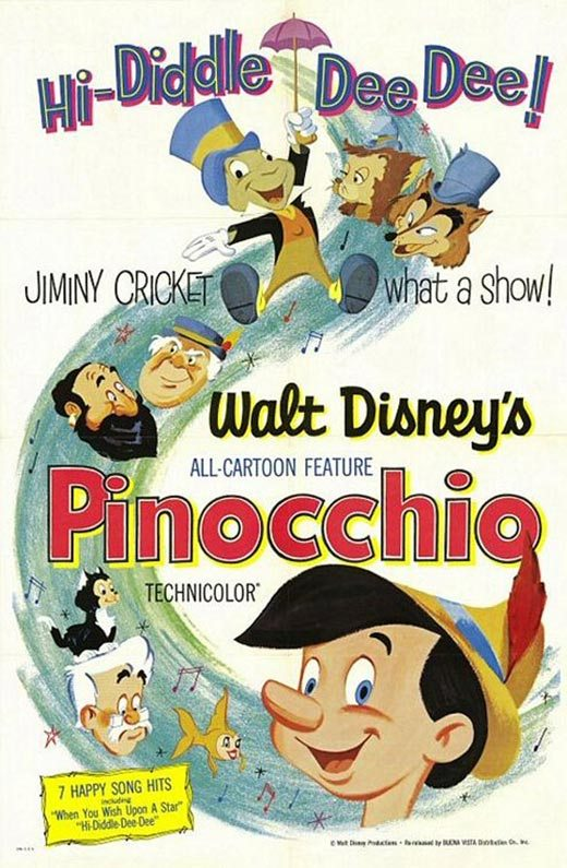 Film poster Pinocchio 1940 animatedfilmreviews.filminspector.com