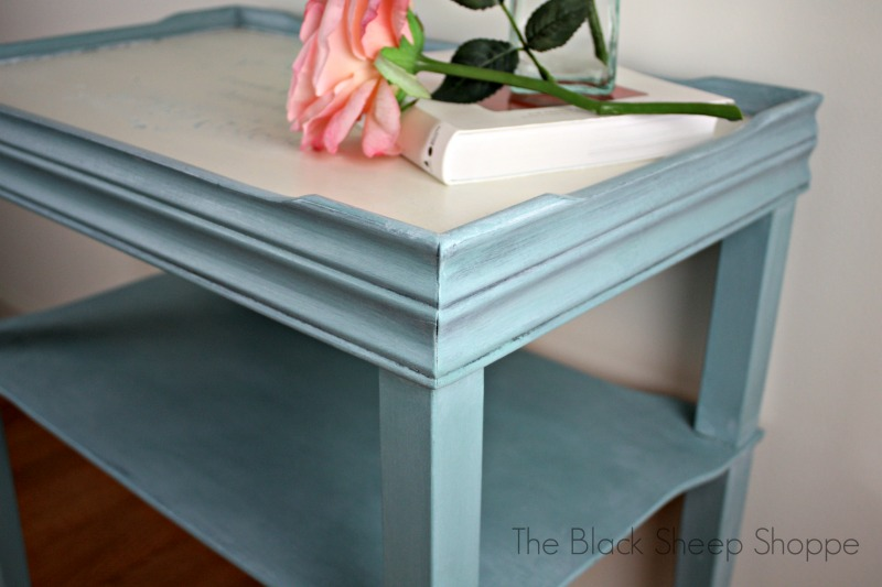 Top painted in Old White. The base is Provence blue.