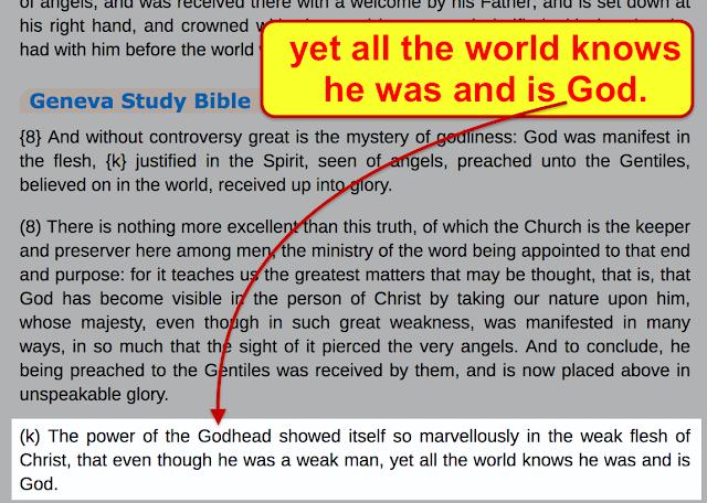 Geneva Study Bible. 1 Timothy 3/16.