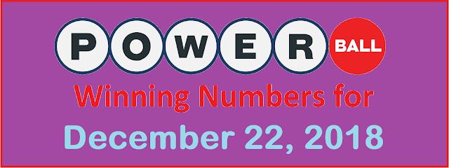 PowerBall Winning Numbers for Saturday, 22 December 2018