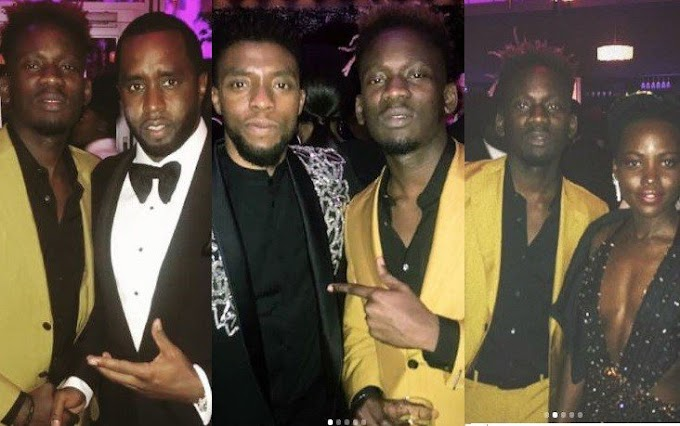 Mr. Eazi meets Diddy, Tyler Perry, and 'Black Panther' stars at the Vanity Fair #Oscar Party ( Photos/Video)