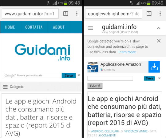 Guidami.info in Google Web Light