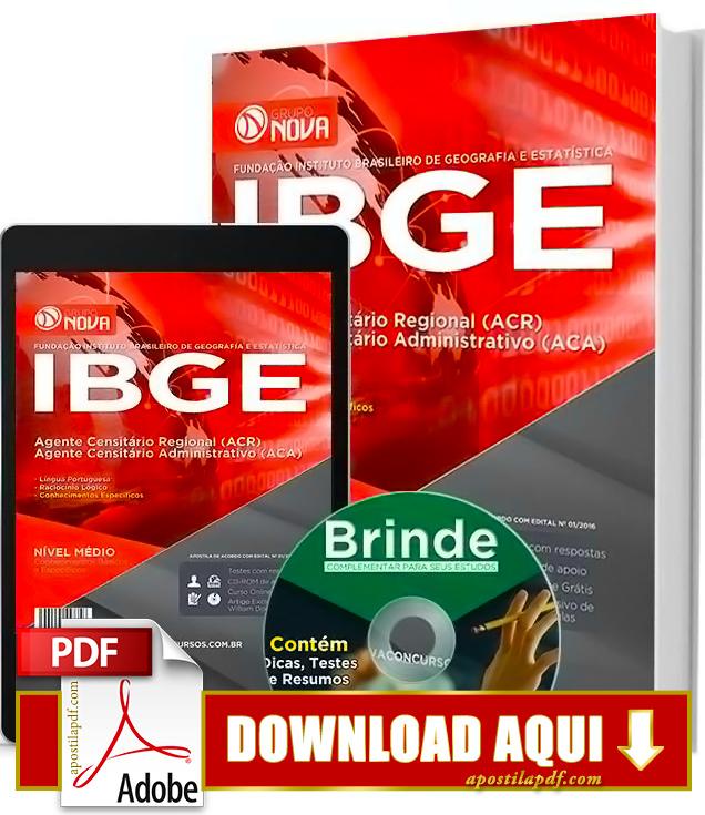 Apostila IBGE Agente Censitário Regional Impressa PDF Download Grátis 2016