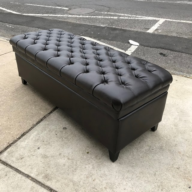 Tufted Faux Leather Storage Ottoman - $125