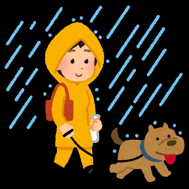 雨の日に犬の散歩をする人のイラスト