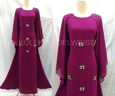 Afifah -Dress With Long Sleeve  Cape  Purple
