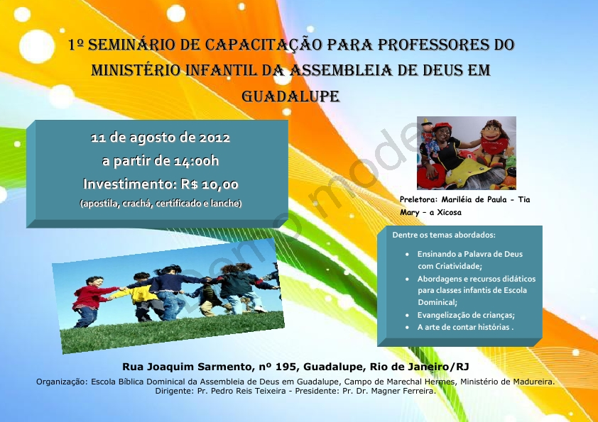 Mensagem Para Os Professores Do Ministério Infantil: CONHECIMENTO E GRAÇA: 1º Seminário De Capacitação Para