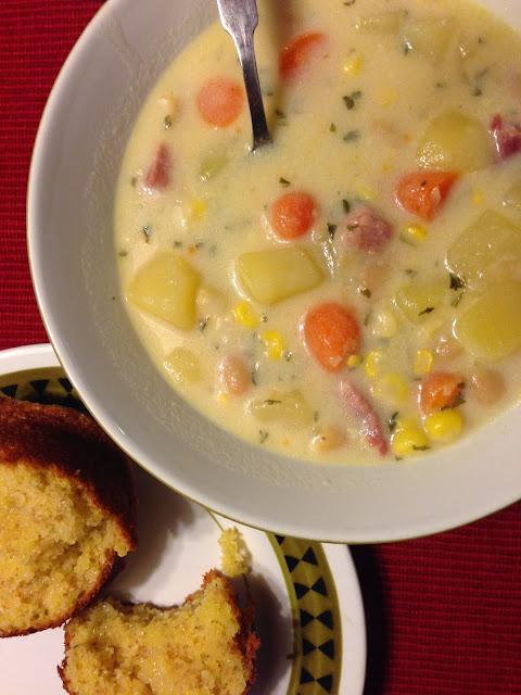 Soup Sundays: Ham & Potato Soup with Cornmeal muffins