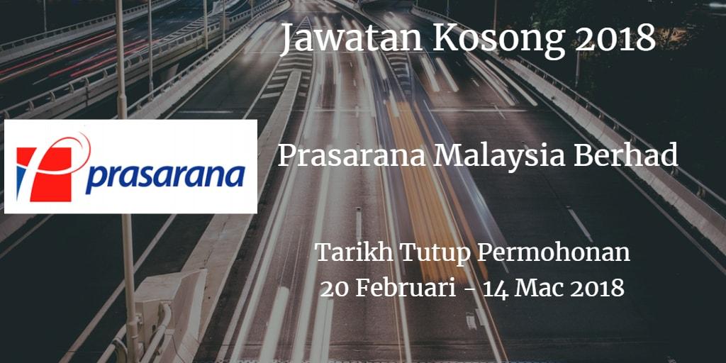 Jawatan Kosong Prasarana Malaysia Berhad 20 Februari - 14 Mac 2018