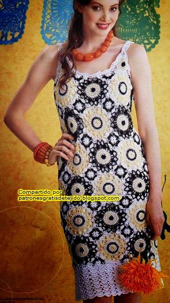 Vestido solero con grannys circulares