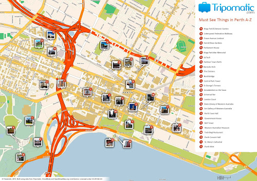 Perth attractions map