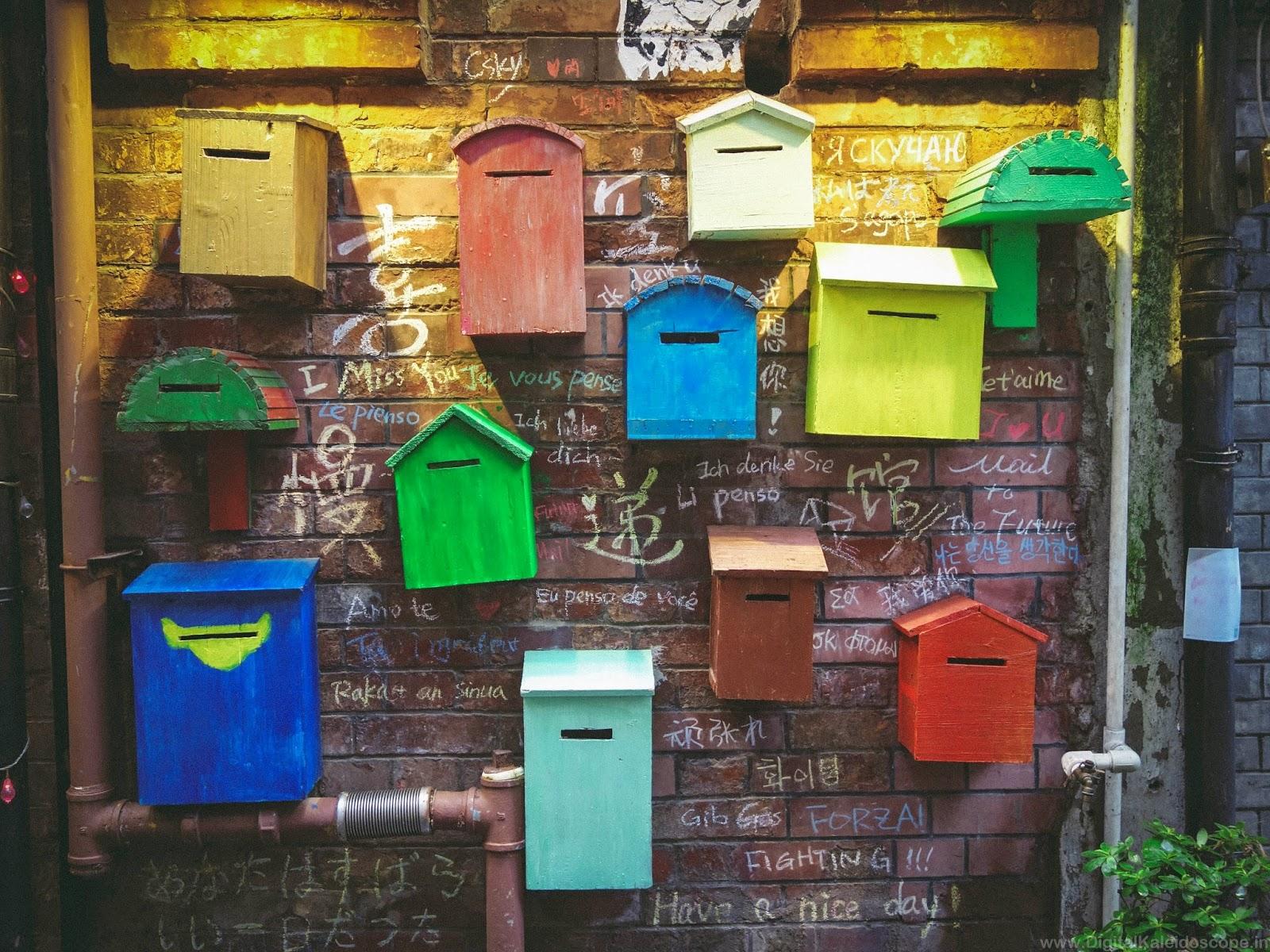 Famous wall of Mailbox art TianZifang Shanghai