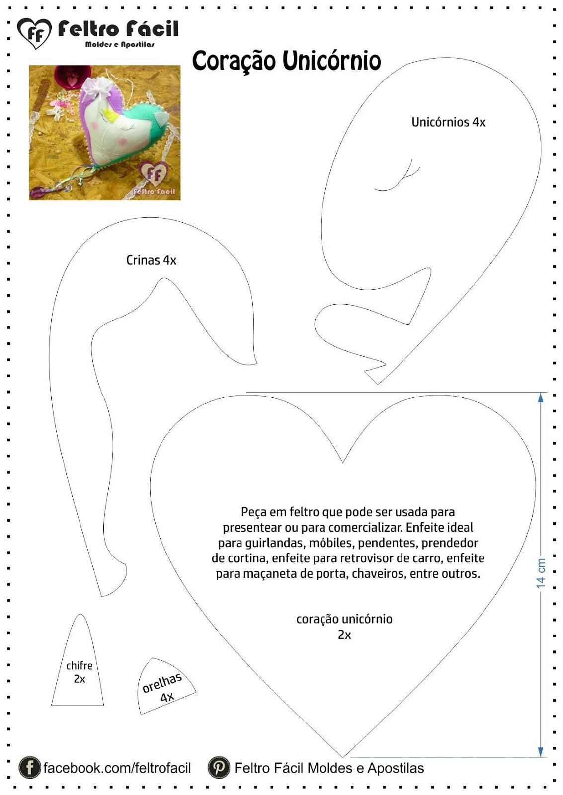 Pedras Artesanato Atacado ~ Feltro Fácil Moldes e Apostilas Coraç u00e3o de Unicórnios Molde