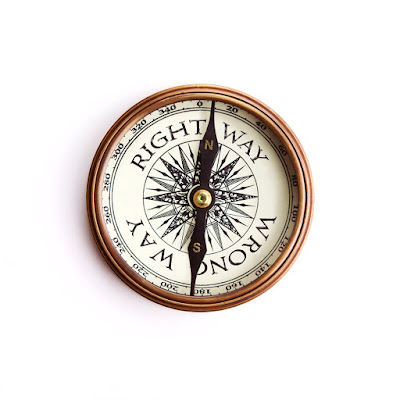 "A compass that has the ""right way"" and the ""wrong way"""