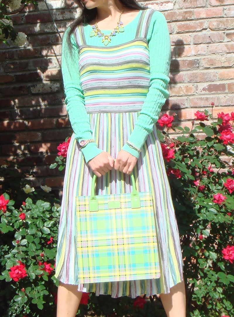 Spring Stripes and Plaid Outfit - up close of dress
