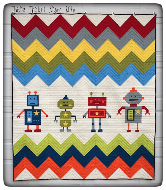 Thistle Thicket Studio, Robots All In A Row quilt, robot quilt, original quilt designs, chevron quilts, robots,