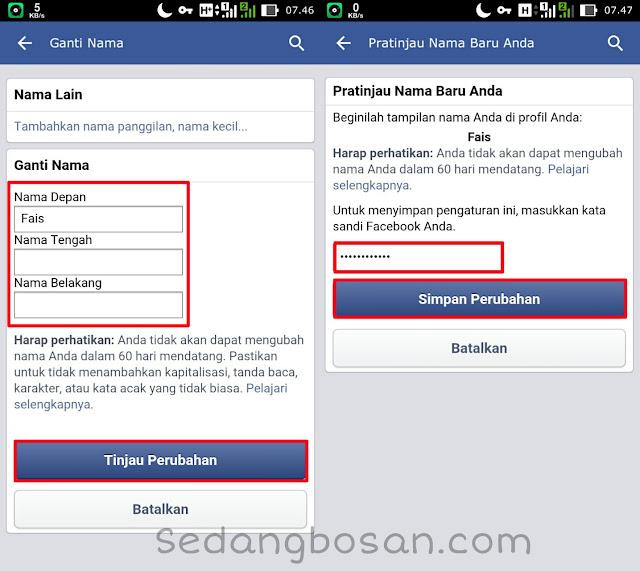 Masukkan Nama Facebook Yang Baru Kemudian Klik Simpan Perubahan